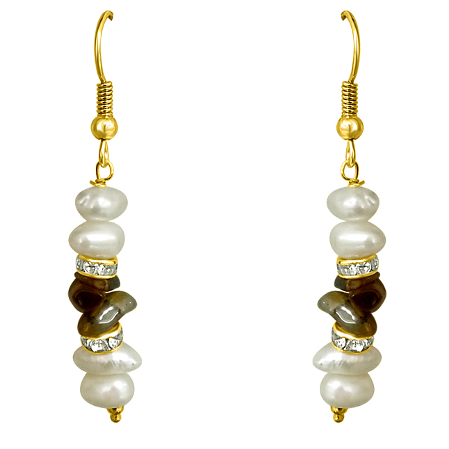 Real Freshwater Pearl & Uncut Tiger Eye Hanging Earrings