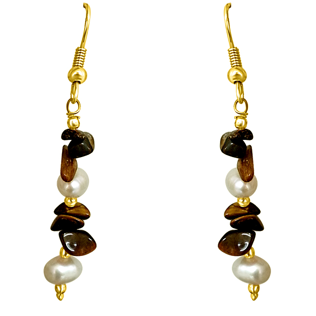 Uncut Tiger Eye & Freshwater Pearl Earrings