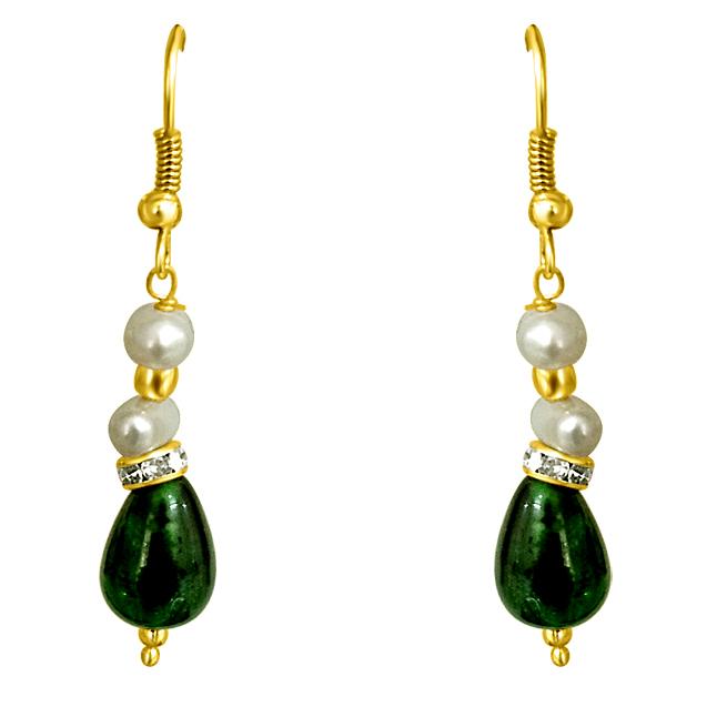 Drop Green Stone & Freshwater Pearl Earrings