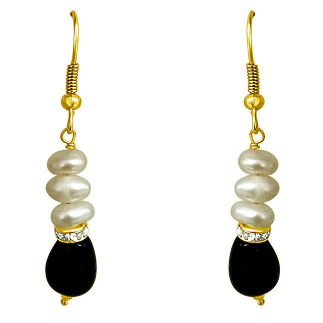 Drop Green Stone & Pearl Hanging Earrings for Women (SE195)