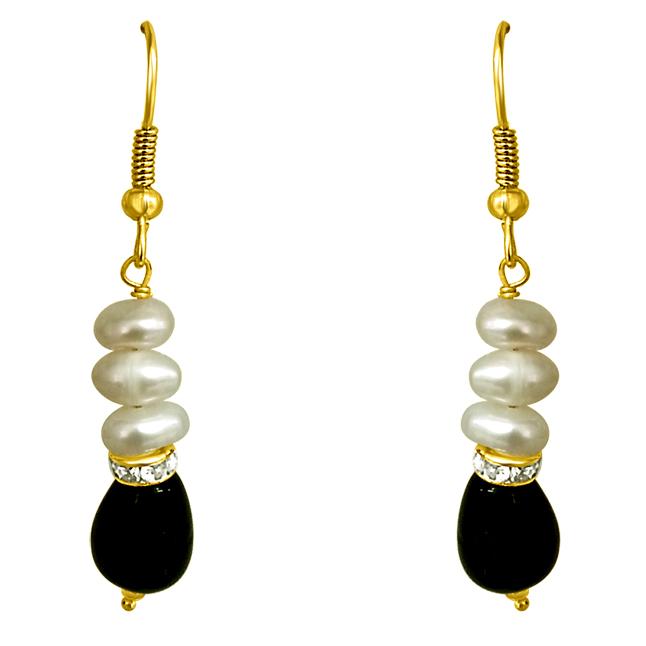 Drop Green Stone & Pearl Hanging Earrings