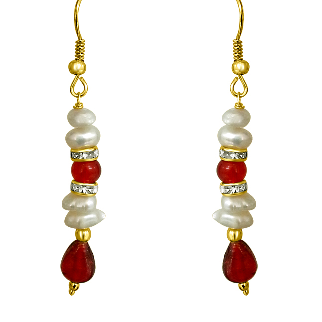 Real Freshwater Pearl & Drop Red Stone Hanging Earrings