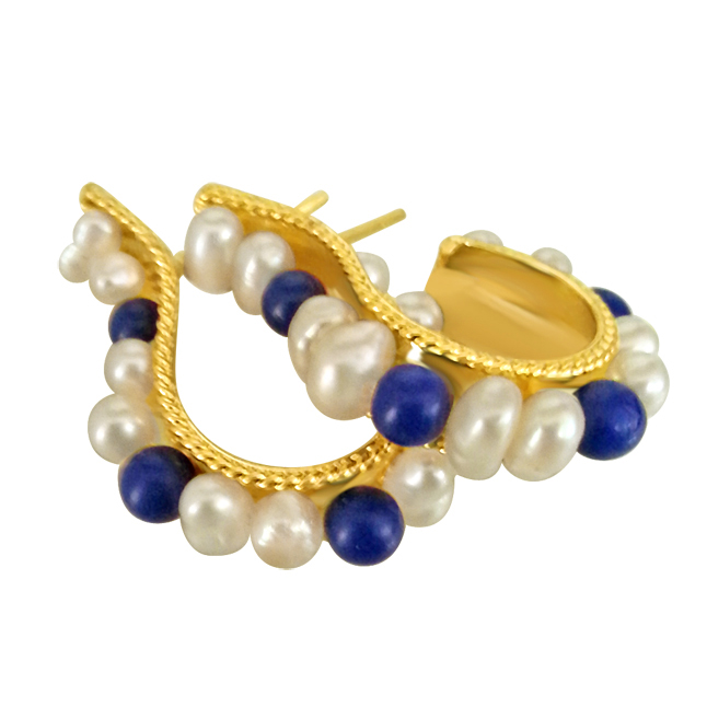 Real Pearl & Blue Lapiz Earrings