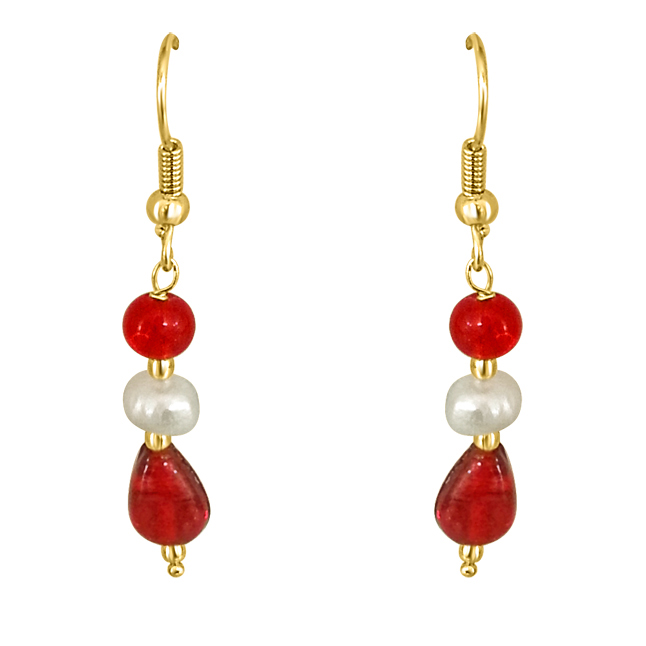 Dangling Pearl & Red Stone Earrings