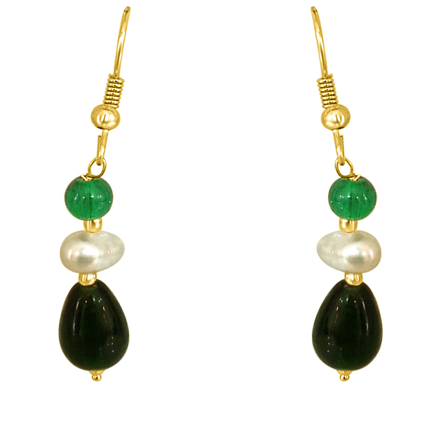 Dangling Pearl & Green Stone Earrings