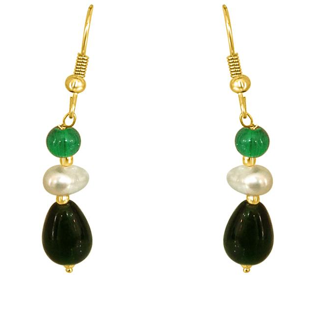 Dangling Pearl & Green Stone Earrings