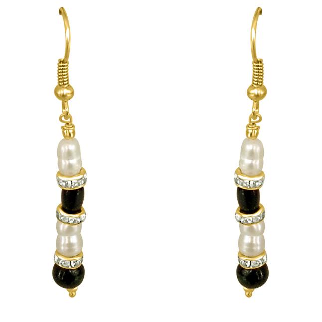 Real Pearl & Black Stone Earrings