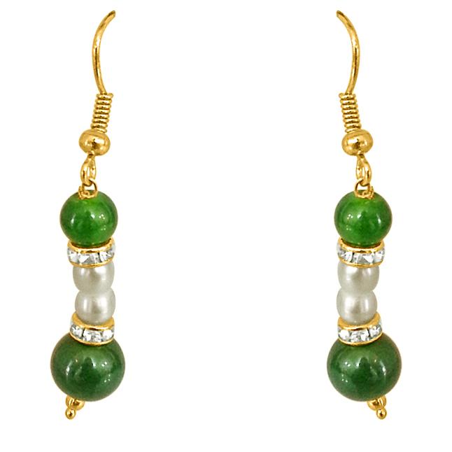 Real Pearl & Green Stone Earrings for Women (SE204)