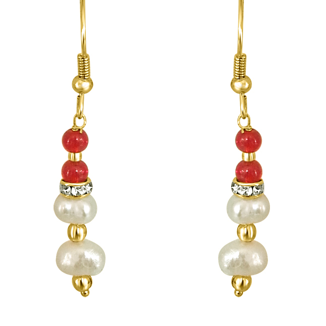 Real Pearl & Red Coloured Stone Earrings