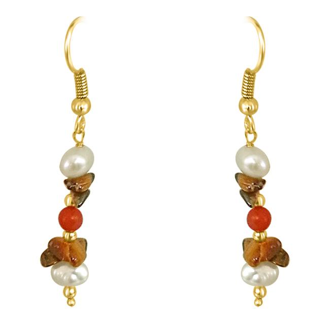 Tiger Eye, Coral & Pearl Earrings