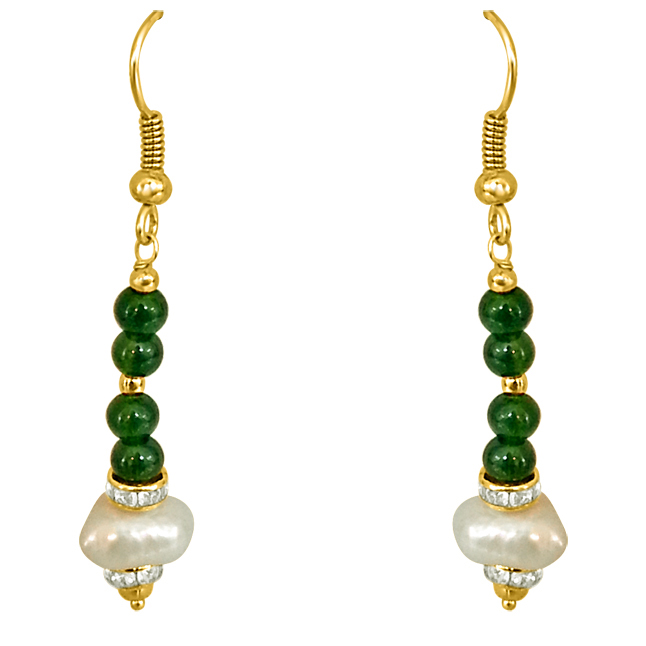 Dangling Real Pearl & Green Stone Earrings