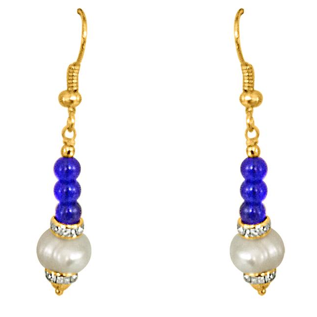 Dangling Real Pearl & Blue Stone Earrings