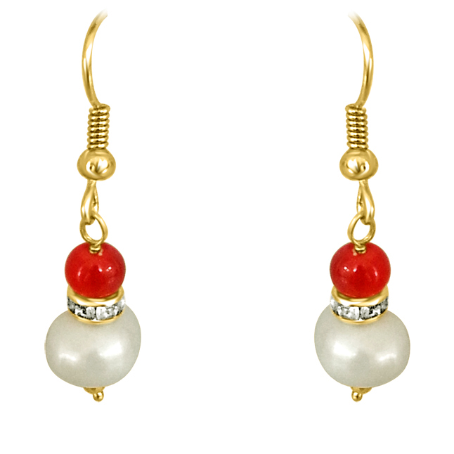 Real Big Pearl & Red Stone Earrings