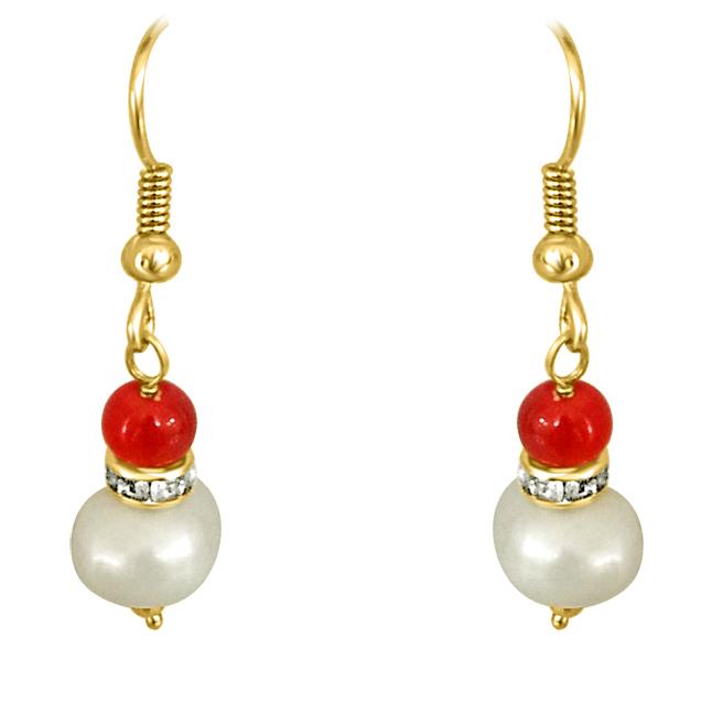 Real Big Pearl & Red Stone Earrings