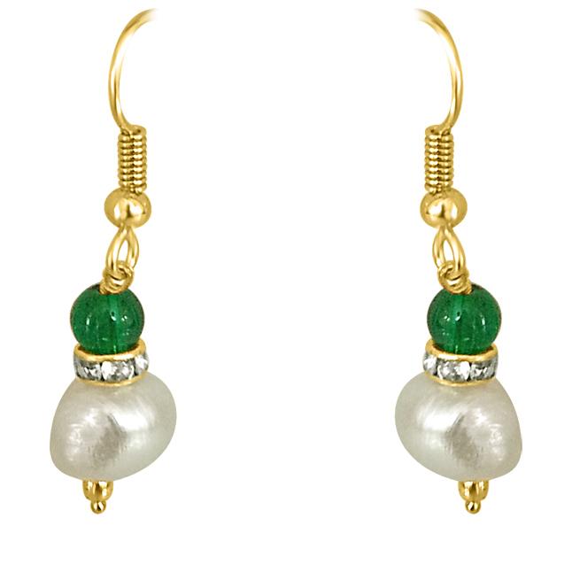 Real Big Pearl & Green Stone Earrings