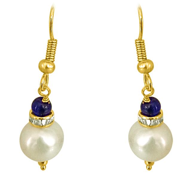 Real Big Pearl & Blue Stone Earrings