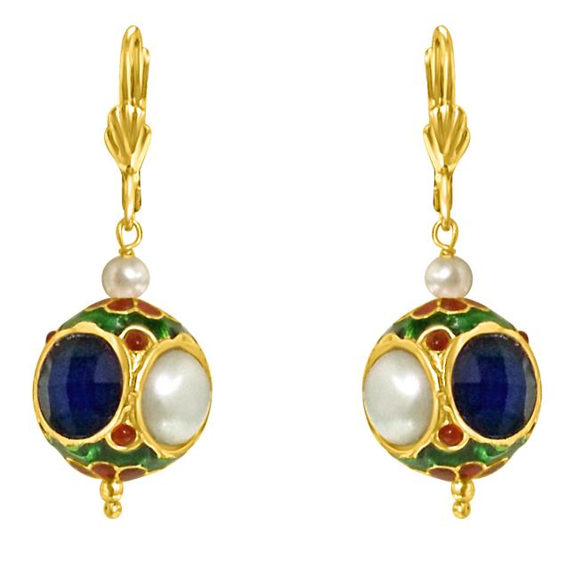 Kundan ball & Shell Pearl Earrings -Fashion Earrings