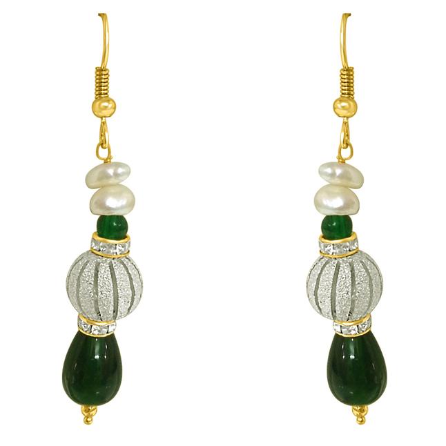 Real Pearl & Green Stone Hanging Earrings