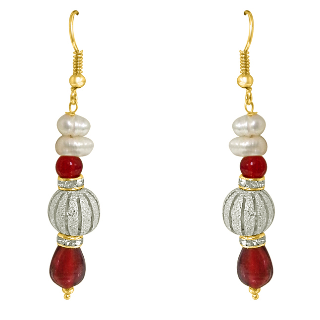 Real Pearl & Red Stone Hanging Earrings