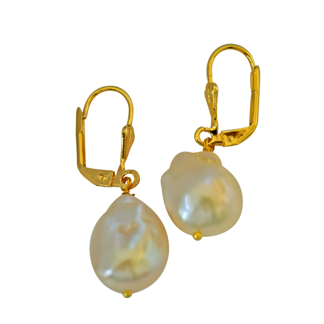 Unique Shaped Real Natural Peach Coloured Baroque Pearl & Gold Plated Hanging Earrings