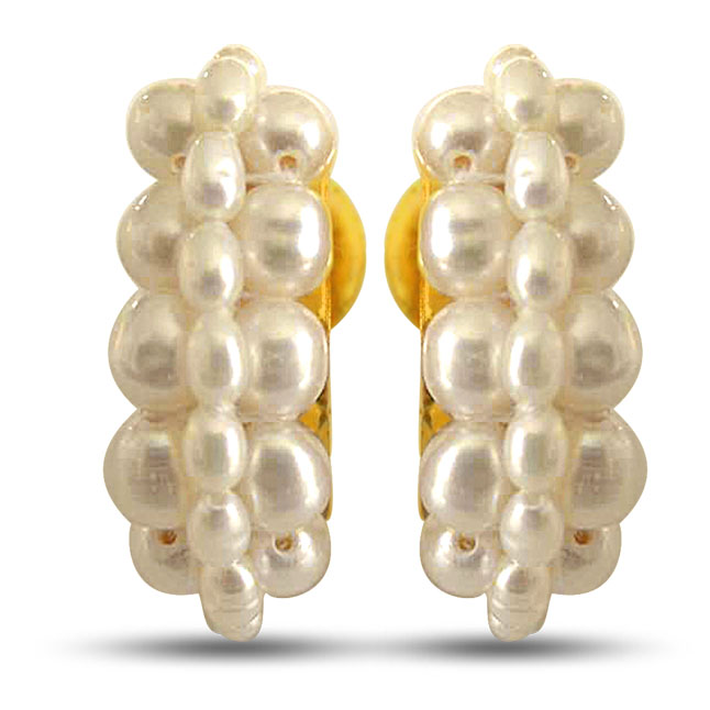 Let's Fall in Love - Freshwater Natural Pearl & Gold Plated Bali Earrings for Women (SE24)