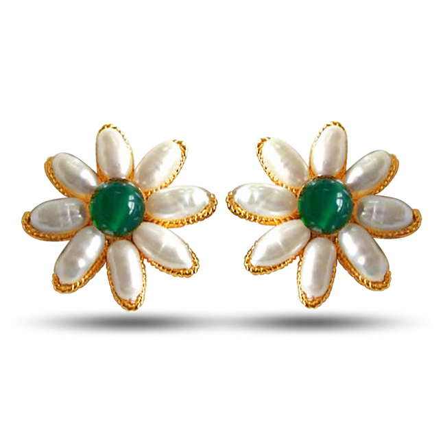 Be My Guardian Angel- Real Rice Pearl & Green Onyx Beads Star Shaped Earrings for Women (SE31)