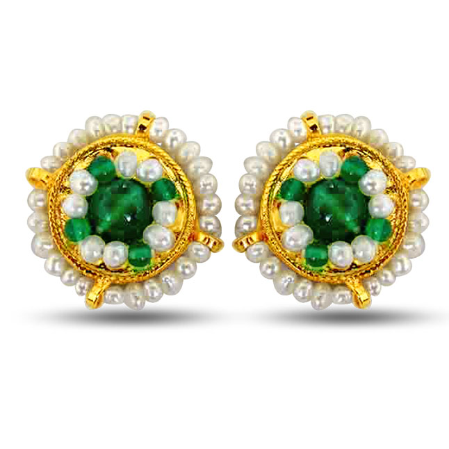 Glowing Green - Freshwater Pearl, Green Onyx & Gold Plated Kuda Jodi Earrings for Women (SE39)