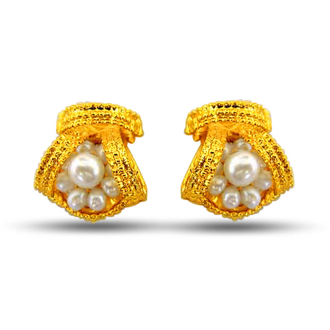 Beautiful Bejeweling - Real Freshwater Pearl & Gold Plated Stud Earrings for Women (SE44)