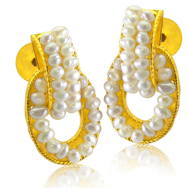 Decorous Pearl Pair - Real Freshwater Pearl & Gold Plated Geometrical Shaped Earring for Women (SE46)
