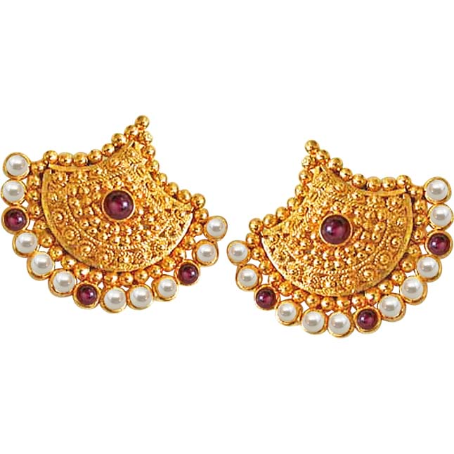 Pretty Lady's Pearl Adornment -Designer Earrings
