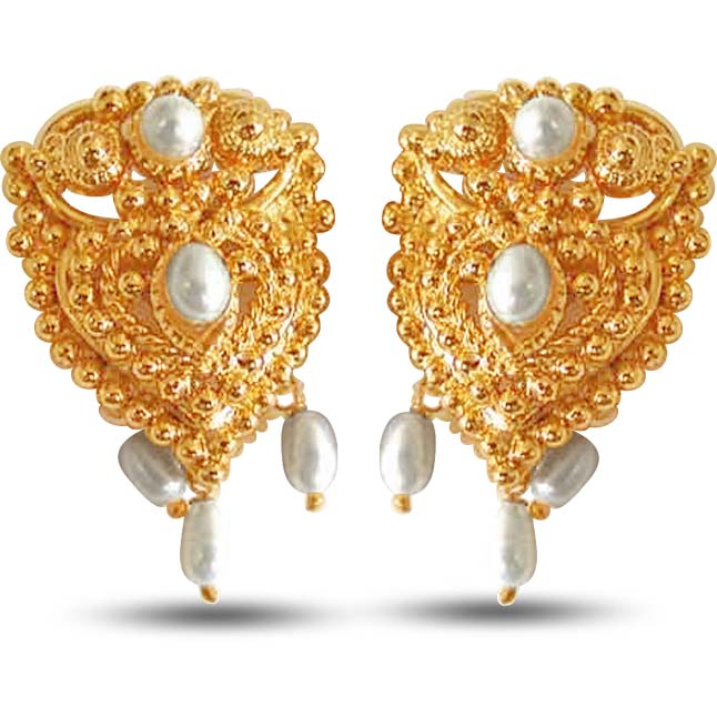 Temple Shaped Pearl Metal Gold Plated Earrings
