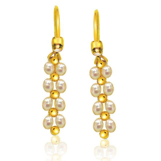 Glowing Gorgeous Danglers - Real Rice Pearl & Gold Plated Beads Hanging Earrings for Women (SE7)