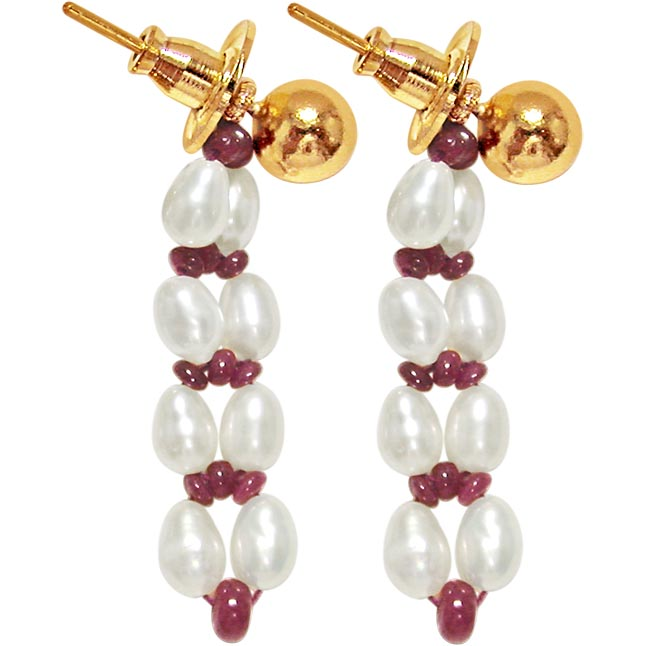 Alluring Aura - Real Ruby Beads & Freshwater Pearls Hanging Earrings for Women (SE78)