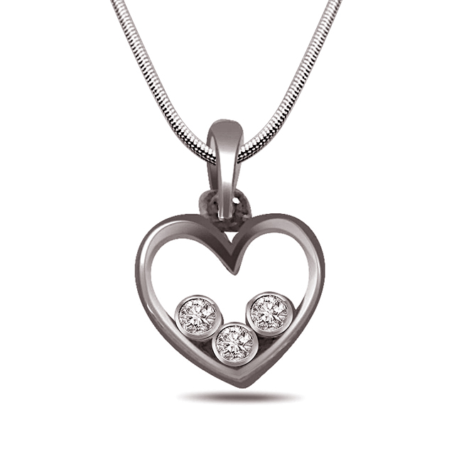 "Sealed with Love -Real Diamond & Sterling Silver Pendants with 18"" Chain"