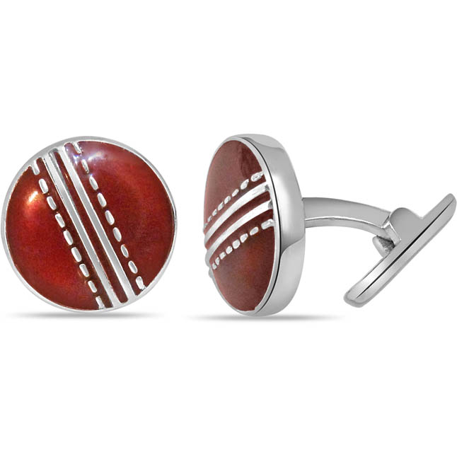 Season Cricket Ball Cufflinks in Enamel & Silver - Silver Sports Cufflinks