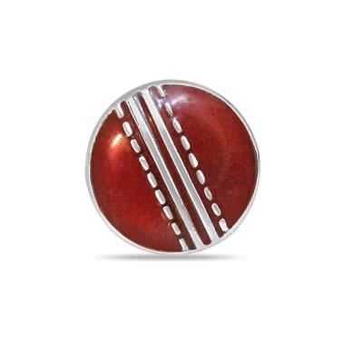 Season Cricket Ball Cufflinks in Enamel & Silver - Silver Sports Cufflinks