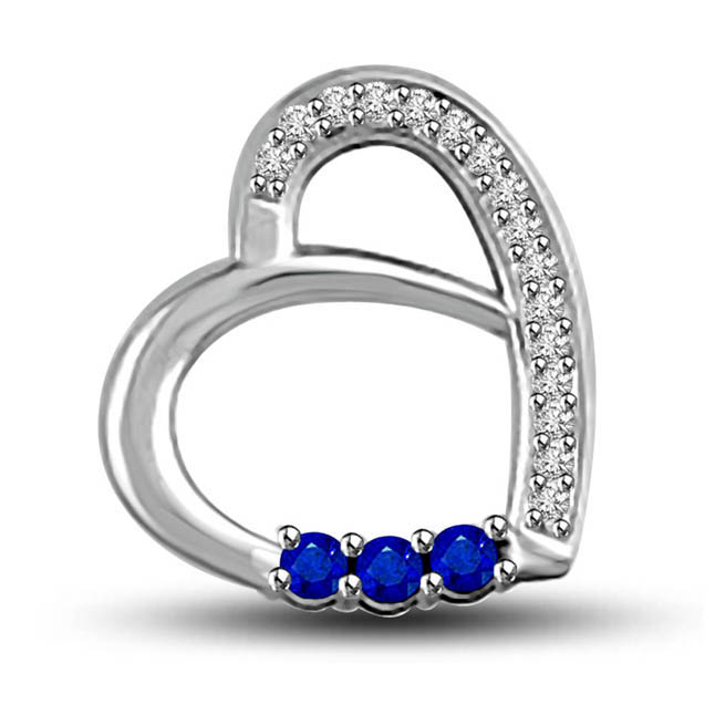 Senses of Love 0.22ct Tcw Blue Sapphire & Diamond Heart Pendants In 14kt White Gold
