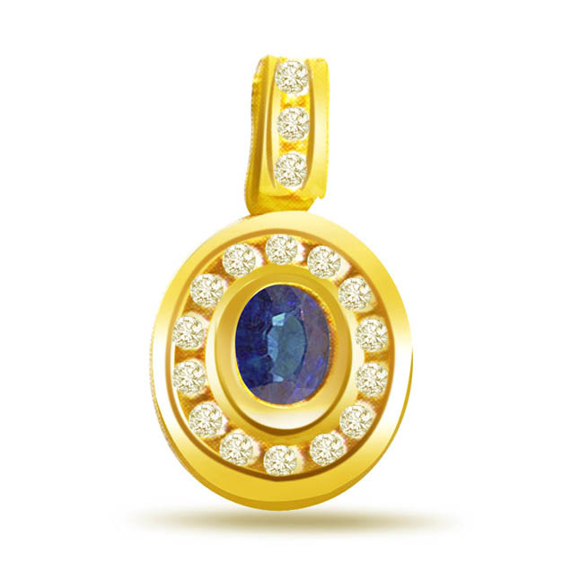 Serene Blue Delight -0.17ct Diamond & Oval Sapphire Gold Pendants