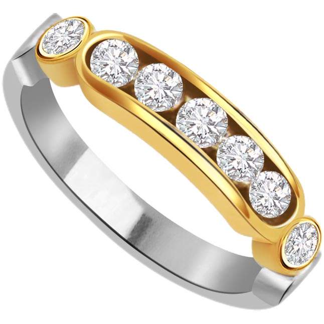 Seven Wonder 1.05 ct Half Eternity rings -2 Tone Half Eternity