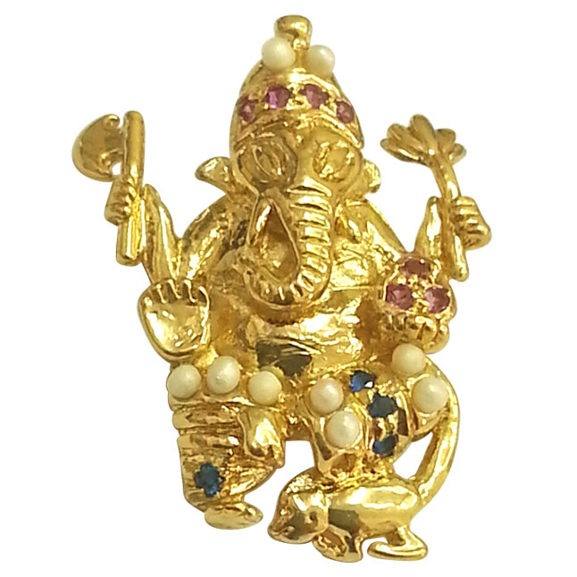 Ekadanta - Ganesha Pendant Set in Gold Plated Silver for All (SGP2)