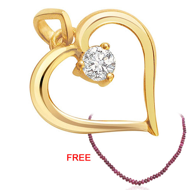 Diamond Heart Pendants + FREE Ruby Necklace -Special Deals