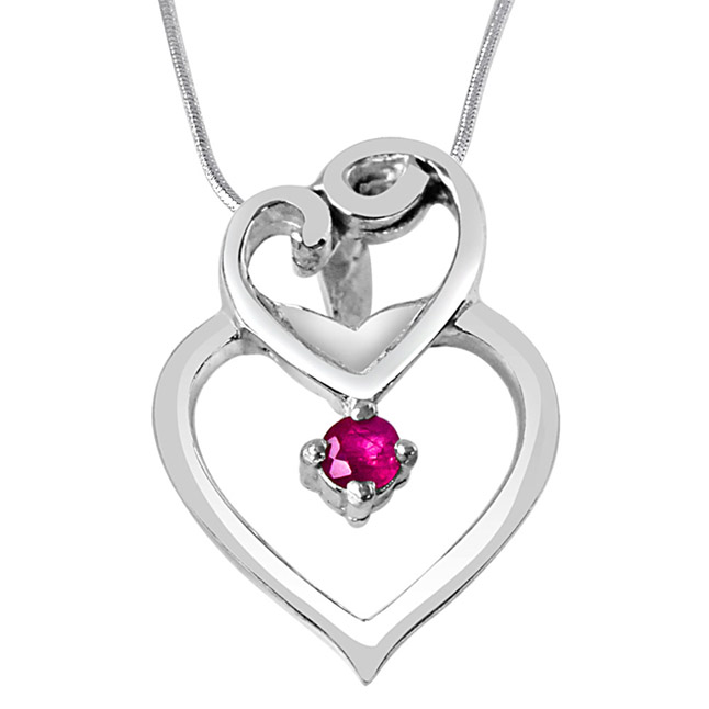 "Shadow of Love Red Ruby & Sterling Silver Pendants with 18"" Chain"