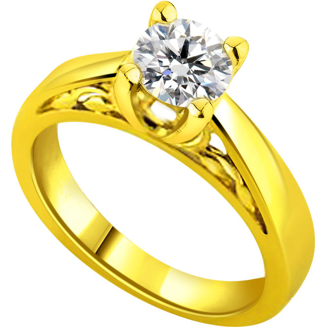 0.09cts K-L / VS1-VS2 Solitaire  Diamond Designer Ring in 18K Gold