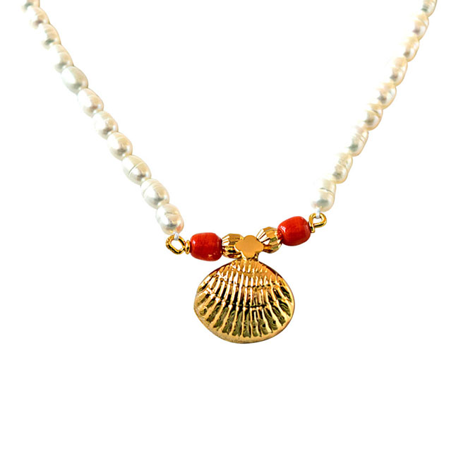 Shell Shaped South Indian Style Gold Plated Pendants & Real Rice Pearl Necklace with Studs -Pearl Set
