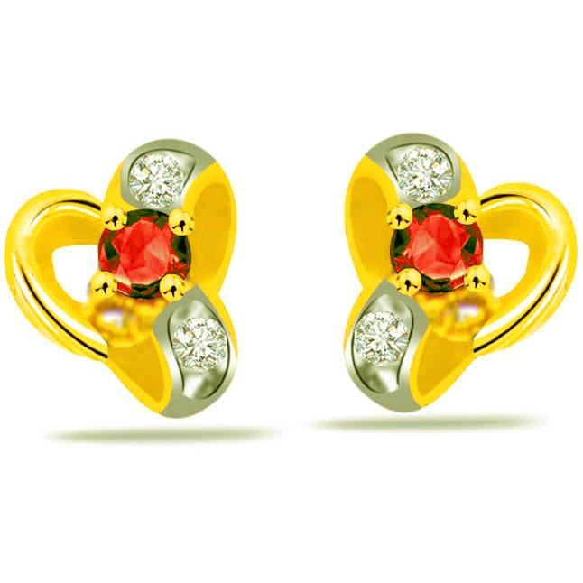 Shimmerings Grace Red Ruby & Diamond Earrings