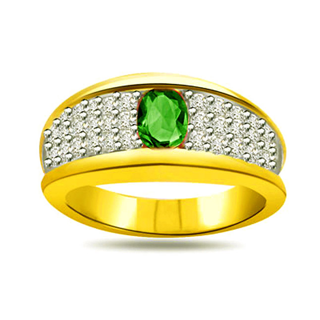 Shining Family 0.40ct Diamond & Emerald Gold rings SDR1087 -Diamond & Emerald