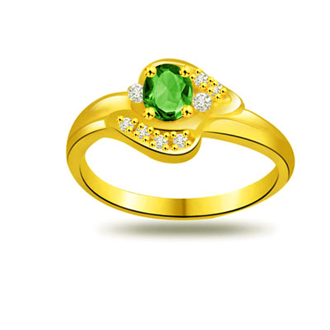 Shining Glow 0.10ct Diamond & Emerald rings SDR1111 -Diamond & Emerald