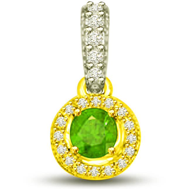 Shining Princess 0.80 TCW Two Tone Pendants Of Emeralds Diamonds