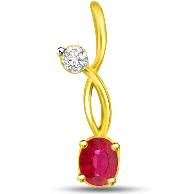 Shining Star 0.20TCW Radiant Diamond Ruby Pendants In Yellow Gold -Diamond -Ruby