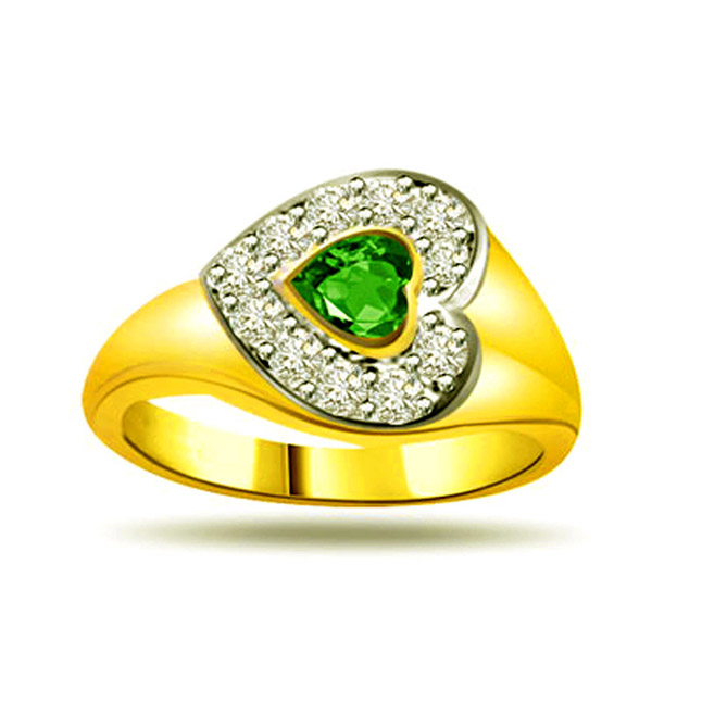 Shining Stars 0.16ct Diamond & Emerald rings SDR1124